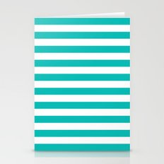Horizontal Stripes (Tiffany Blue/White) Stationery Cards