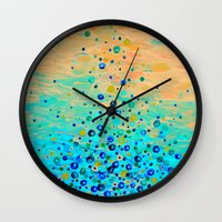 WHAT GOES UP - Cheerful Water Bubbles Aquatic Pattern Cute Turquoise Blue Circles Acrylic Painting  Wall Clock