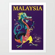 Malaysia dragon vintage backpacking adventure travel poster Art Print