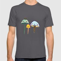 Cute Mushrooms. Mens Fitted Tee Asphalt SMALL