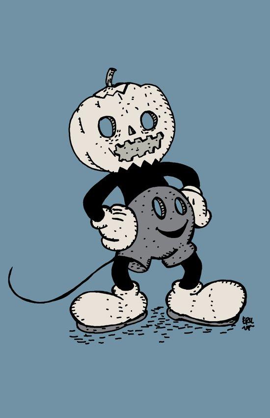 Mickey Pumpkin (desaturated) Art Print