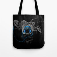 Blue Headphones Tote Bag
