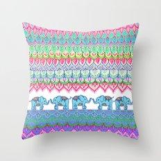 Tiny Circus Elephants Throw Pillow