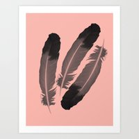 Pink & Feather Art Print