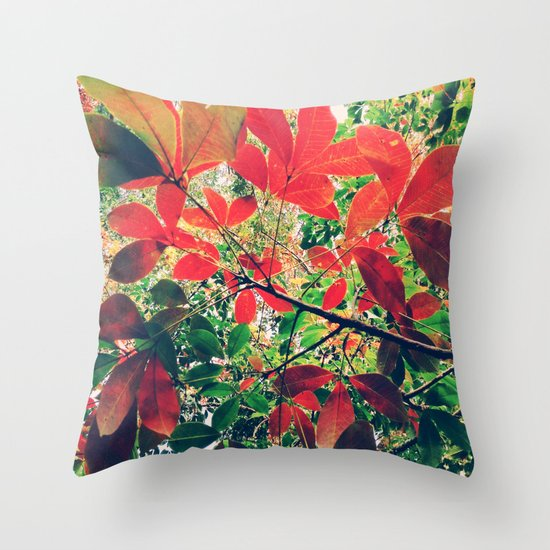 Coquelicot Shades Throw Pillow