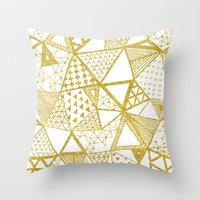 Golden Doodle triangles Throw Pillow