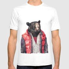 Black Bear MEDIUM Mens Fitted Tee White