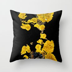 Yellow Lichen Throw Pillow