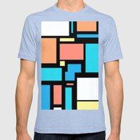 Modern Mondrian (black) Mens Fitted Tee Tri-Blue SMALL