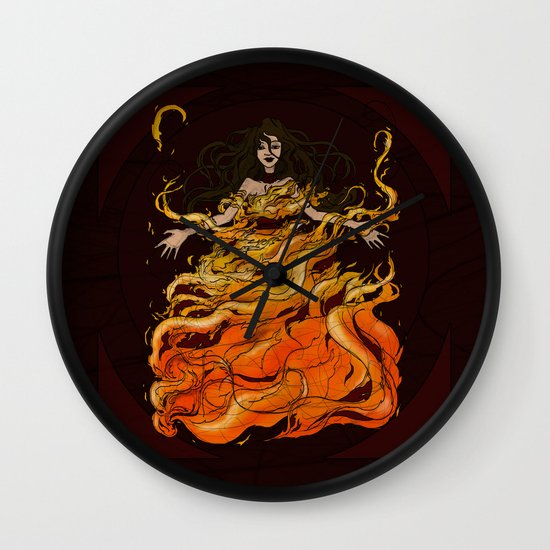 Girl on Fire Wall Clock