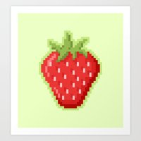 Pixel Strawberry Art Print