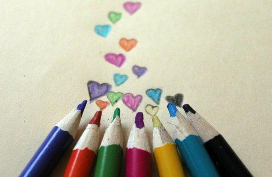 pencil crayon love Art Print