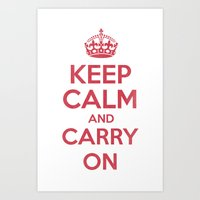 keep Calm and Carry On - Red/White Book Art Print