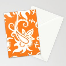 Paisley: Orange Ivory Stationery Cards