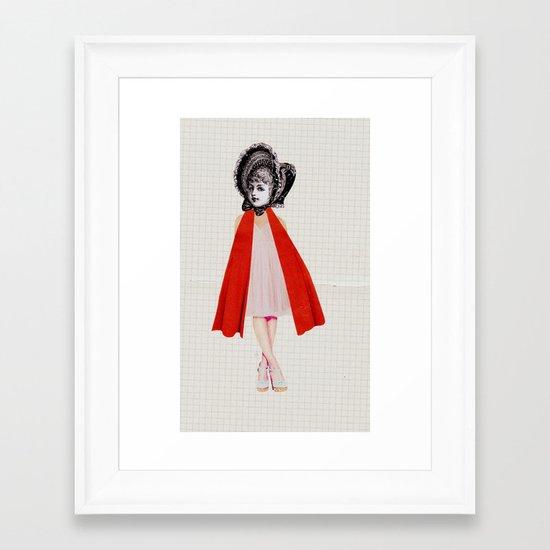 Miss Red riding hood Framed Art Print