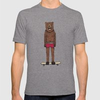 Bear + Skateboard Mens Fitted Tee Tri-Grey SMALL