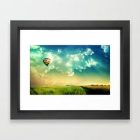 The Colorful Balloon In The Sky - Painting Style Framed Art Print