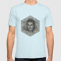 Audrey Hepburn dot work portrait Mens Fitted Tee Light Blue SMALL