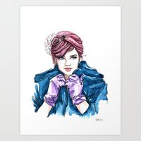 Girl With The Purple Glo… Art Print