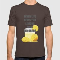 When life gives you lemons, make lemonade quotes Mens Fitted Tee Brown SMALL