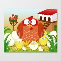 Hen, Rooster and chicks in May month series Canvas Print