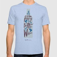 Hemingway quote on Wine and Good Company Mens Fitted Tee Athletic Blue SMALL