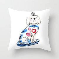 Fancy Little Dog  Throw Pillow