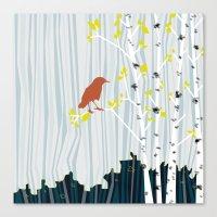 bird in birch Canvas Print