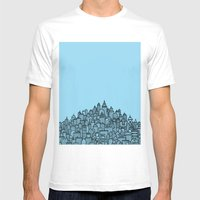 CitySkyline (Blue) Mens Fitted Tee White SMALL