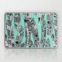 Geo Feathers Mint Laptop & iPad Skin