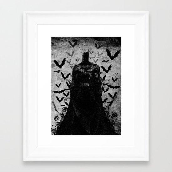 The night rises B&W Framed Art Print