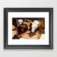 Girl Feeds Sheep Framed Art Print