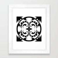 Black white tribal pattern Framed Art Print