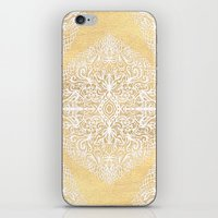 White Gouache Doodle on Gold Paint iPhone & iPod Skin