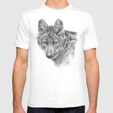 Maned Wolf G040 Mens Fitted Tee SMALL White