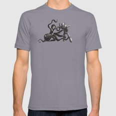 Octopus Wrestling with a Robot SMALL Slate Mens Fitted Tee