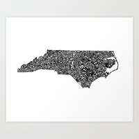Typographic North Carolina Art Print