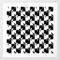 Black and White Checkerboard Weimaraner Art Print