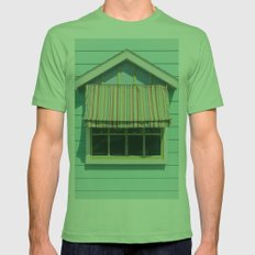 Summer cottage stripped canvas awning Mens Fitted Tee Grass SMALL