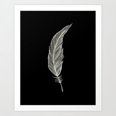 One Feather - White & Black Art Print