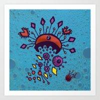 Sea of Atoms - Crab Molecule Art Print