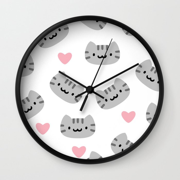 Kawaii Grey Tabby Cat Wall Clock