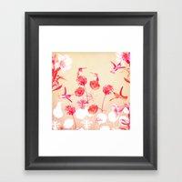 Hummingbirds In The Gard… Framed Art Print