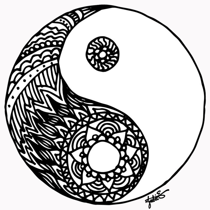 Ying yang dream catcher coloring coloring pages for Ying yang coloring pages