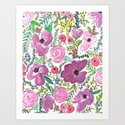Purple Floral Design - Watercolor Painting  Art Print