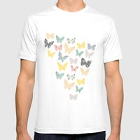 Butterflies Pattern Mens Fitted Tee White SMALL