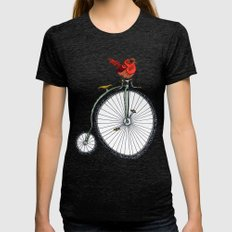 bird on a bicycle. Womens Fitted Tee Tri-Black SMALL