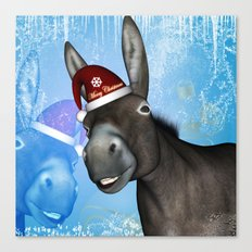 Funny christmas donkey Canvas Print
