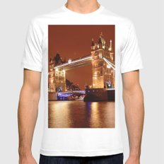 Tower Bridge on the River Thames, London, at night Mens Fitted Tee White SMALL