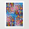 Steam Punk Music with key Board, Horns, Gears  In Blue, Pink & Yellow Abstract Art Print